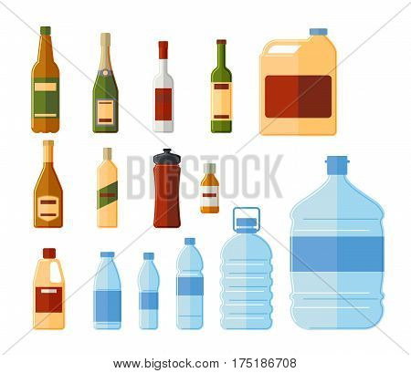 Different bottles and water containers vector illustration. Glass and termo, medicine and chemical bottle set isolated on white background