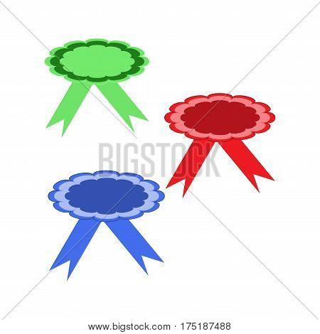 Ribbon label for food. Blank sticker labeling. Elegant form of the logo for sale. Emblem modern symbol of quality. Colorful template for badge tag wrapping etc. Design element. Vector illustration