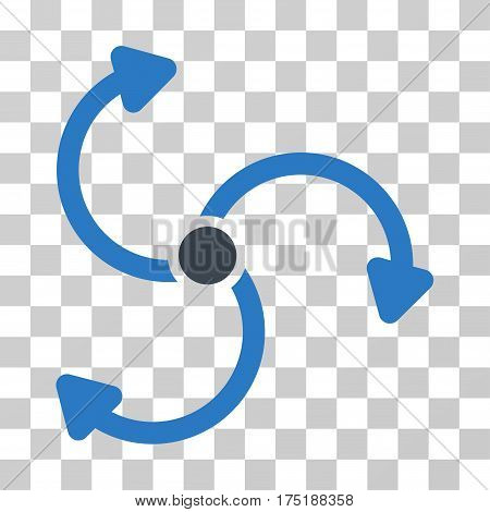 Fan Rotation icon. Vector illustration style is flat iconic bicolor symbol smooth blue colors transparent background. Designed for web and software interfaces.