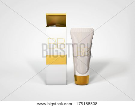 BB cream bottle mockup. Foundation tube ads template. Skin toner, skin perfector 3D illustration