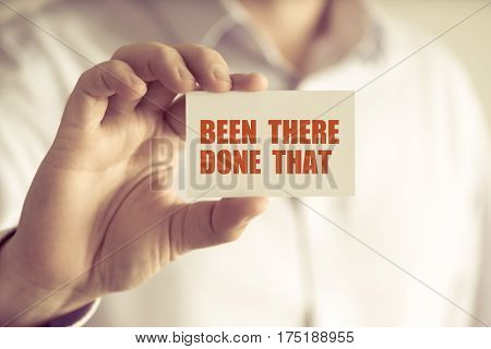 Businessman Holding Been There, Done That Message Card