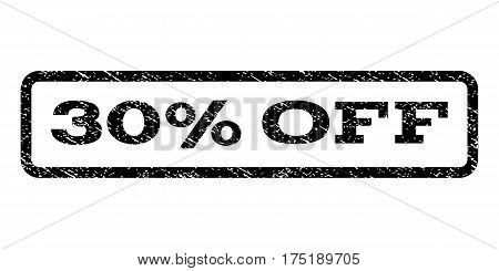 30 Percent Off watermark stamp. Text caption inside rounded rectangle frame with grunge design style. Rubber seal stamp with dirty texture. Vector black ink imprint on a white background.