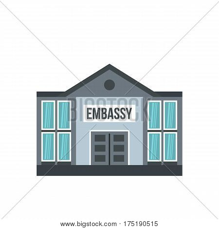 Embassy icon in flat style isolated on white background vector illustration