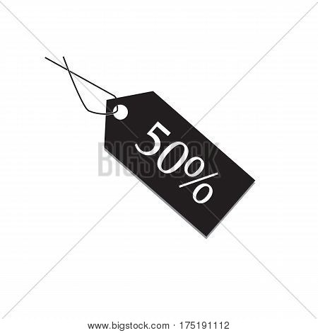 50 percent tag on white background 50 percent tag sign.