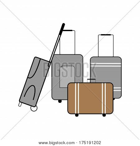 Luggagesuitcase icon on white background. Baggage bag briefcase symbol vacation travel and tourism. Template for postersign. Flat vector image. Vector illustration.