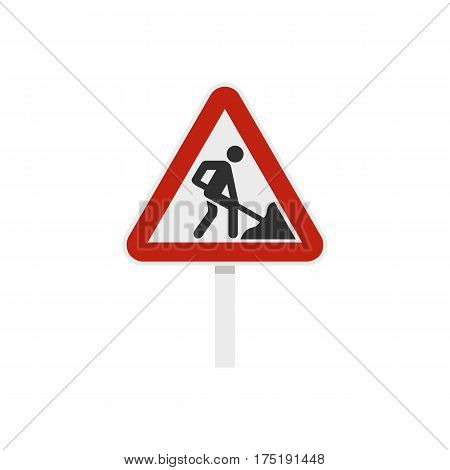 Roadworks sign icon in flat style isolated on white background vector illustration