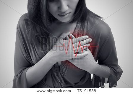 Heart attack symptom  isolate on white background