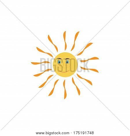 The sun sign on white background. Orange solar mark. Bright sunny icon good mood. Isolated logo spring summer. Symbol hot warm sunlight and good weather. Flat vector image. Vector illustration.