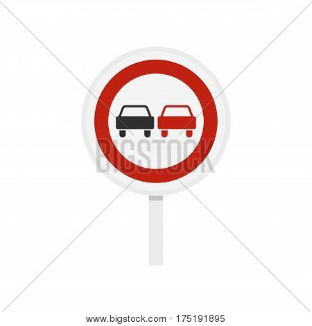 No overtaking road traffic sign icon in flat style isolated on white background vector illustration
