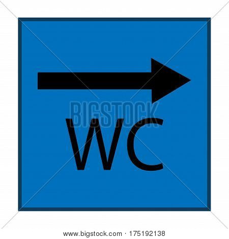 WC icon and arrow right in blue square on white background. Sign restroom women and men. Symbol public washroom and bathroom. Template for postersign. Flat vector image. Vector illustration.
