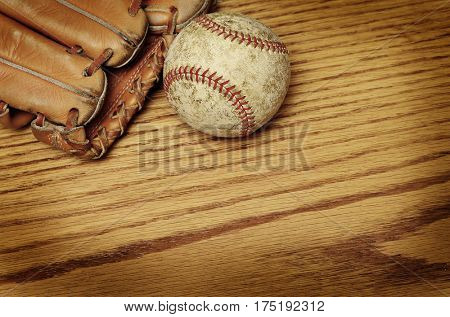 Baseball and mitt for playing game