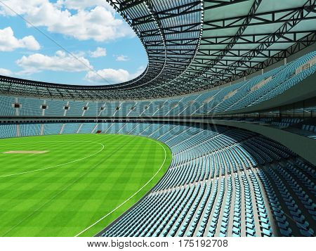 3D Render Of A Round Cricket Stadium With Sky Blue  Seats And Vip Boxes