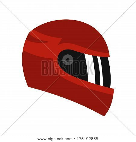 Red racing helmet icon in flat style isolated on white background vector illustration