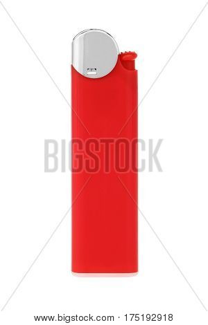 Red lighter cigarette isolated on white background