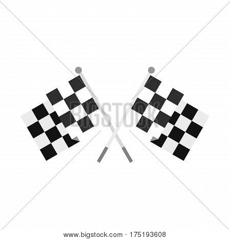 Crossed chequered flags icon in flat style isolated on white background vector illustration
