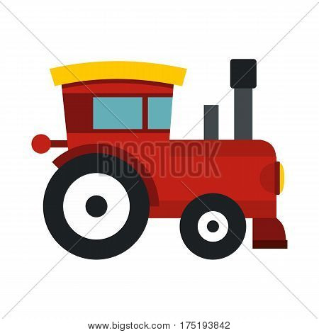 Red toy train icon in flat style isolated on white background vector illustration