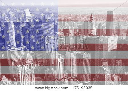 American flag with New York city buildings in background.