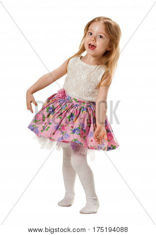 Little cute girl is jumping, laughs, sing song. Isolated on white background