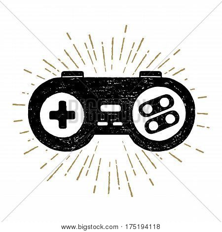 Hand drawn 90s themed icon with a gamepad textured vector illustration.