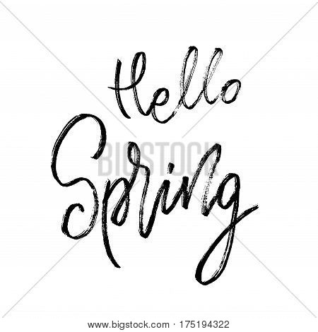 Hello spring postcard. Seasonal lettering. Ink illustration. Modern brush calligraphy. Calligraphy lettering on white. Vector illustration stock vector.