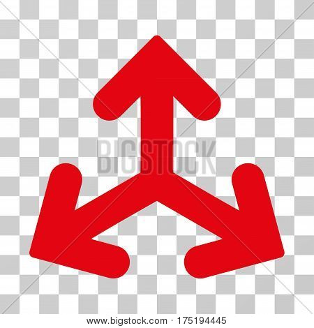 Direction Variants icon. Vector illustration style is flat iconic symbol intensive red color transparent background. Designed for web and software interfaces.