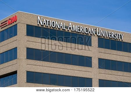 MINNEAPOLIS MN/USA - MARCH 4 2017: National American University exterior. National American University (NAU) is a for-profit university owned by National American University Holdings Inc.