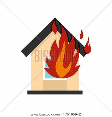 Flames from house window icon in flat style isolated on white background vector illustration