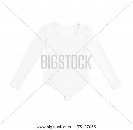 white gymnastics bodysuit isolated on white background