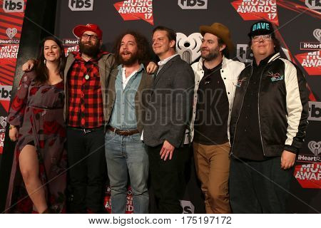 LOS ANGELES - MAR 5:  The Strumbellas, Isabel Ritchie, Simon Ward, Darryl James, Jon Hembrey, Dave Ritter, Jeremy Drury at the 2017 iHeart Music Awards at Forum on March 5, 2017 in Los Angeles, CA