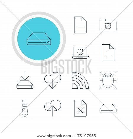 Vector Illustration Of 12 Internet Icons. Editable Pack Of Fastener, Removing File, Information Load And Other Elements.