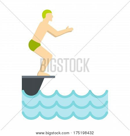 Flat illustration of standing on springboard, preparing to dive vector icon in flat style isolated on white background vector illustration