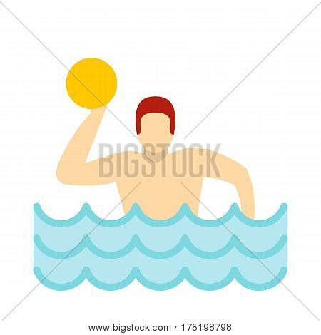 Water polo player in swimming pool icon in flat style isolated on white background vector illustration