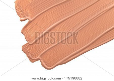 Smudged liquid make-up base isolated on a white background