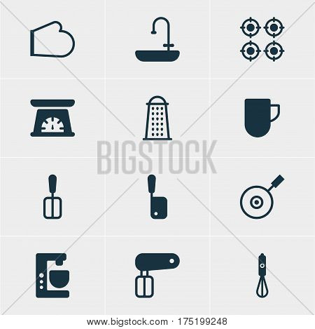Vector Illustration Of 12 Restaurant Icons. Editable Pack Of Washstand, Skillet , Handmixer Elements.