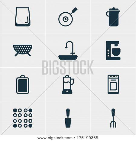 Vector Illustration Of 12 Kitchenware Icons. Editable Pack Of Cooker, Fork, Fruit Squeezer And Other Elements.