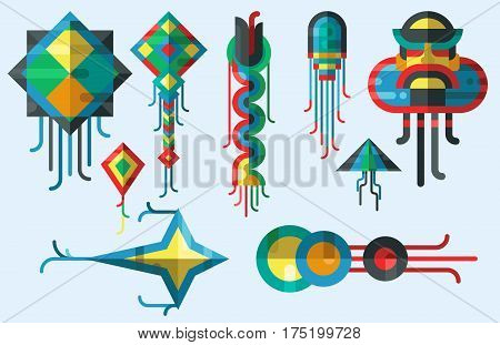 Flying kite vector illustration wind fun toy fly leisure happy isolated joy string activity play. Freedom game design vacation childhood