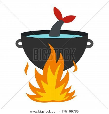 Cooking fish soup on a fire icon in flat style isolated on white background vector illustration