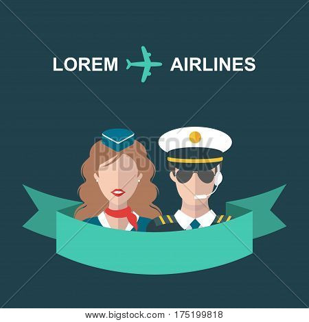 Vector illustration of plane, stewardess and pilot with ribbon and place for text in trendy flat style
