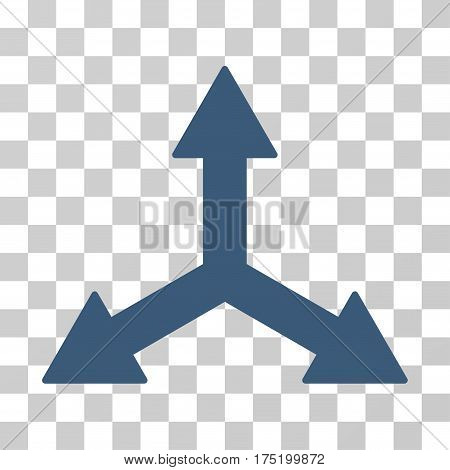Triple Arrows icon. Vector illustration style is flat iconic symbol blue color transparent background. Designed for web and software interfaces.