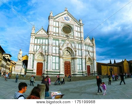 Florence, Italy - May 01, 2014: The Basilica di Santa Croce or Basilica of the Holy Cross - famous Franciscan church on Florence, Italy