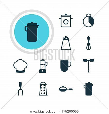 Vector Illustration Of 12 Cooking Icons. Editable Pack Of Chef Hat, Slicer, Timekeeper And Other Elements.