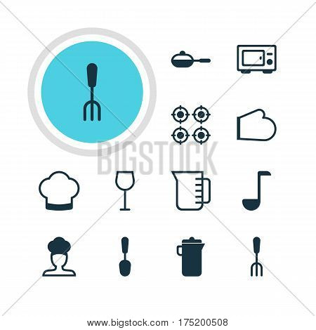 Vector Illustration Of 12 Cooking Icons. Editable Pack Of Chef Hat, Furnace, Tablespoon And Other Elements.