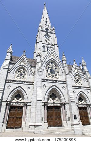 The entrance to St. Mary's Cathedral Basilica in Halifax city (Nova Scotia).