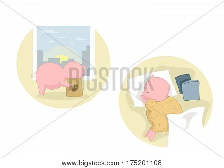 Vector illustration of a little pig's life. A little pig looks for coffee. A little pig is sleeping in bed.