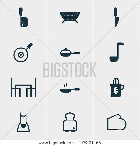 Vector Illustration Of 12 Restaurant Icons. Editable Pack Of Dinner Table, Frying Pan, Pan And Other Elements.