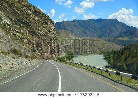 landscape with mountain road, Altai, Russia
