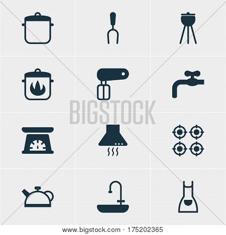 Vector Illustration Of 12 Cooking Icons. Editable Pack Of Whisk, Extractor Appliance, Stewpot And Other Elements.