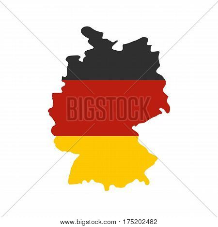 Germany map with national flag icon in flat style isolated on white background vector illustration