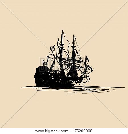 Vector illustration of sailing ship in the sea in ink style. Hand sketched old warship silhouette. Marine theme design