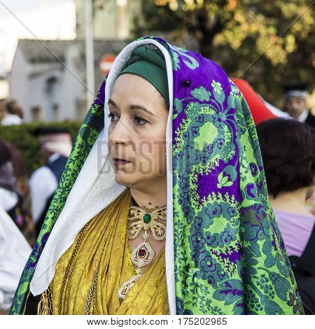 SELARGIUS, ITALY - September 9, 2012: Former marriage Selargino - portrait of a woman in traditional Sardinian costume - Sardinia